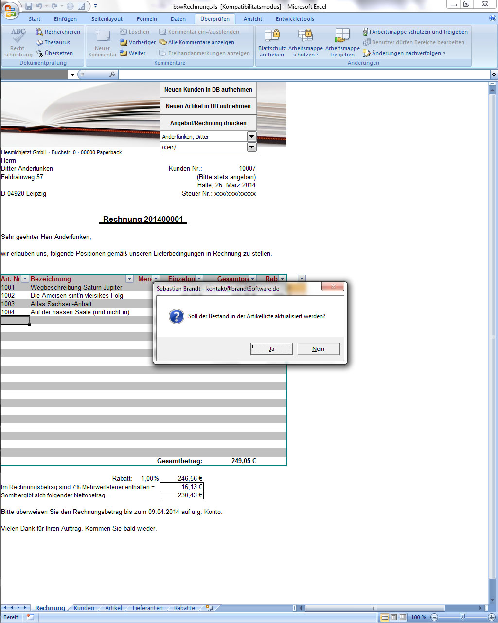 Rechnungsformular für Excel (Freeware)   brandtSoftware