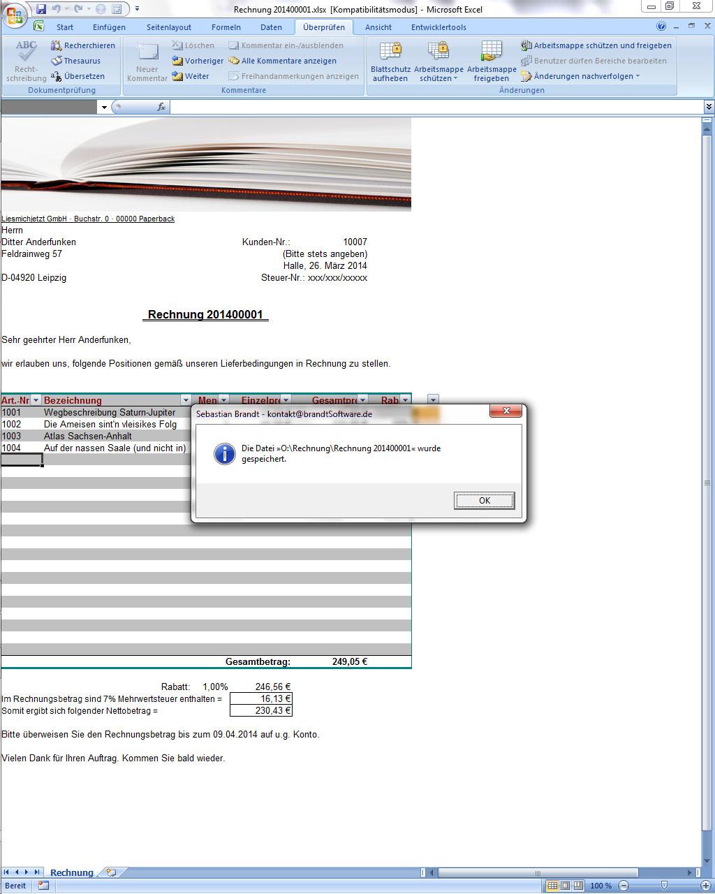 Rechnungsformular Für Excel Freeware Brandtsoftware